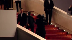 Guillaume Canet walking up the red carpet in Cannes during Cannes Film festival Stock Footage