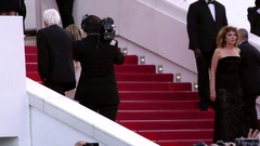 Vanessa Paradis walking up the red carpet, cannes Stock Footage