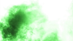 Green cloud smoke / ink on water on white background Stock Footage