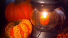 Autumn lantern candle fall Stock Footage