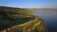 Swiss village aerial shot - scenic view Stock Footage