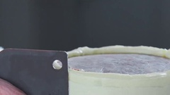 Pastry tool: spatula for cream. Confectioner decorates the cake Stock Footage