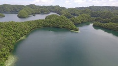 Aerial drone shot of Rock Islands in Palau Stock Footage