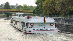 Sightseeing boat on River Spree in Berlin Stock Photos