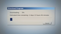 Dialog window with super slow downloading process, low Internet speed, old times Stock Footage