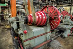 Old lathe driven by belt transmission with different  gearing shaft Stock Photos