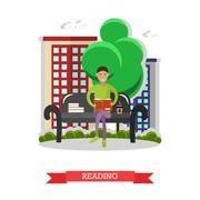 Man sitting on a bench in park, reading book and drinking coffee. Vector Stock Illustration