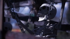 Skeleton chained. the concept of ghosts. halloween skull closeup Stock Footage