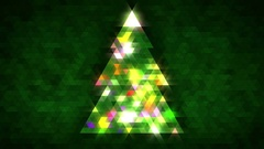 Christmas tree of triangles with loop between 5:00-20:00. Green centred version. Stock Footage