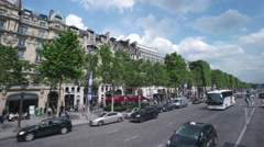 4K Paris Champs-Elysee city traffic street Stock Footage