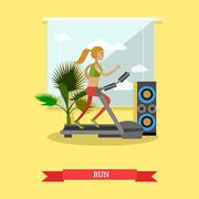 Girl running on a treadmill in fitness center. Gym and healthy lifestyle concept Piirros