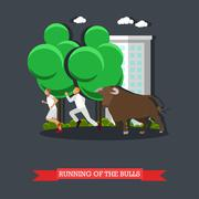 Running of the Bulls concept vector poster in flat style. People run in front Stock Illustration