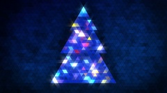 Christmas tree of triangles with loop between 5:00-20:00. Blue centred version. Stock Footage