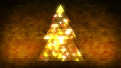 Christmas tree of triangles with loop between 5:00-20:00. Gold centred version. Stock Footage
