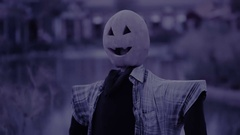 Scarecrow with Pumpkinface. nightmare. halloween. scary ghost Stock Footage