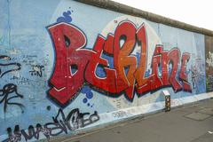 Historic remains of Berlin Wall - Berliner Mauer at East Side Gallery Stock Photos