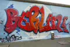 Amazing Berlin Wall East Side Gallery - Berliner Mauer Stock Photos