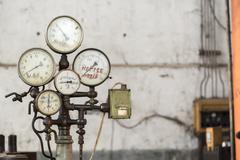 Old rusty industrial gauges Stock Photos