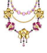 Necklace with orchids Stock Illustration