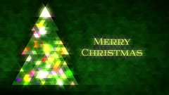 Christmas tree of triangles. Loop from 5:00-20:00. Green Merry Christmas version Stock Footage