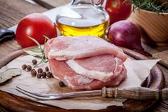Fresh raw meat sliced. Stock Photos