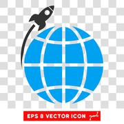 Planet Satellite Launch Vector Eps Icon Stock Illustration