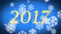 2017 creative New Year celebration message on blue snowy background, screensaver 4k or 4k+ Resolution