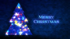 Christmas tree of triangles. Loop from 5:00-20:00. Blue Merry Christmas version. Stock Footage