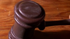 Gavel hitting hit judge law system Stock Footage