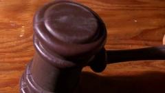 Gavel hitting hit judge law system Stock Footage