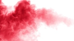 Red cloud smoke / ink on water on white background Stock Footage