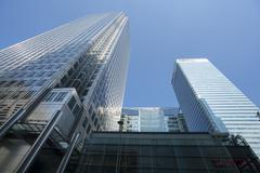 Modern skyscrapers at Canary Wharf London Stock Photos