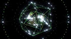 Neon Octahedron In Icosahedron Stock Footage