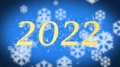2022 creative New Year celebration message on blue snowy background, screensaver 4k or 4k+ Resolution