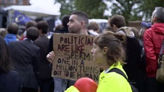 Protesters post EU Referendum Stock Footage