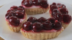 Cherry dessert rotating on a white plate Stock Footage