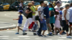 Pedestrians tourists unfocused in summer. Stock Footage