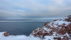 4K. Cloudy sky over the Barents Sea. Teriberka, Murmansk region, Russia. Ultr Stock Footage