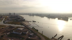 Misty Amsterdam from across IJ-river, aerial. Stock Footage