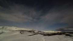 4K. Starry night on the Kola Peninsula. Teriberka, Murmansk region, Russia. Stock Footage