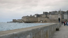 View over the walled city Saint-Malo from mole, Brittany, France. Stock Footage
