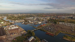 North Amsterdam industrial area and harbor, drone footage. Stock Footage