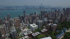 Aerial Hong Kong Island Victoria and Kowloon ICC Still Stock Footage