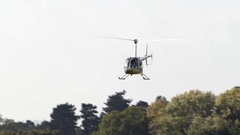 Helicopter taking off from a small airfield. Stock Footage