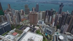 Aerial University of Hong Kong Main Campus and Buildings Victoria Pan Stock Footage