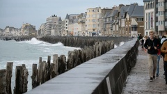 Houses on the bank of the coastline in the Saint Malo, France, EU, Europe. Stock Footage