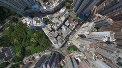 Aerial Victoria Hong Kong Western District Building Bonham Road Roof top Tilt Stock Footage