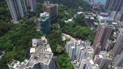 Aerial Victoria Harbour Hong Kong Western District Bonham road roof top birdview Stock Footage
