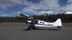 Alaska Bush Plane Beached and Idling Stock Footage