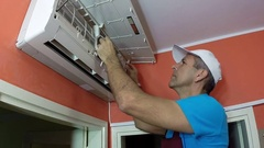 Smiling Air Conditioning Master Showing Thumbs Up Arkistovideo